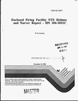 Primary view of object titled 'Enclosed firing facility NTS Holmes and Narver report - HN 104-1021C'.