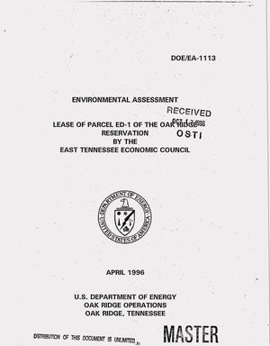 Primary view of object titled 'Lease of Parcel ED-1 of the Oak Ridge Reservation by the East Tennessee Economic Council'.