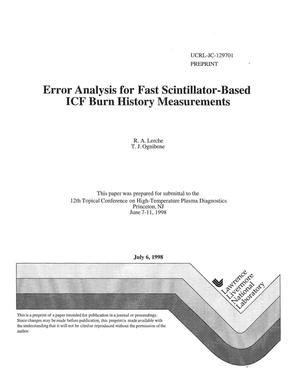 Primary view of object titled 'Error analysis for fast scintillator-based ICF burn history measurements'.