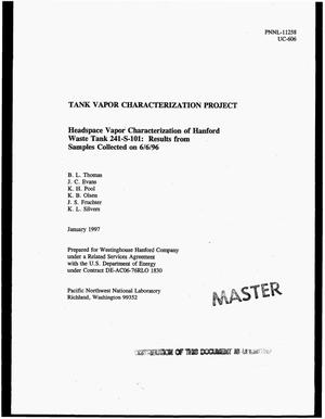Primary view of object titled 'Tank Vapor Characterization Project: Headspace vapor characterization of Hanford waste tank 241-S-101: Results from samples collected on 06/06/96'.