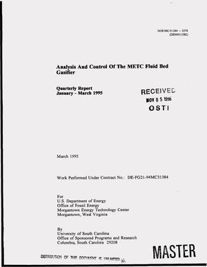 Primary view of object titled 'Analysis and control of the METC fluid bed gasifier. Quarterly progress report, January--March 1995'.