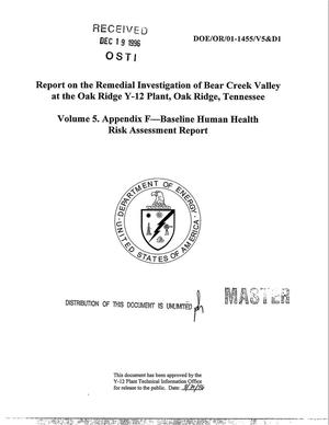 Primary view of object titled 'Report on the remedial investigation of Bear Creek Valley at the Oak Ridge Y-12 Plant, Oak Ridge, Tennessee. Volume 5: Appendix F -- Baseline human health risk assessment report'.