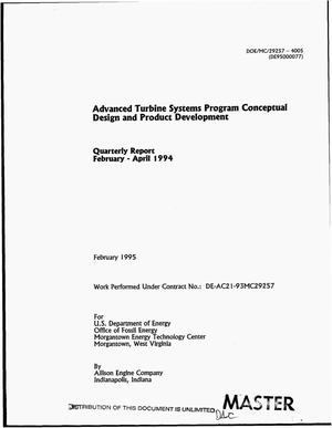 Primary view of object titled 'Advanced Turbine Systems program conceptual design and product development. Quarterly report, February--April 1994'.