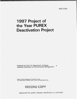 Primary view of object titled '1997 project of the year, PUREX deactivation project'.