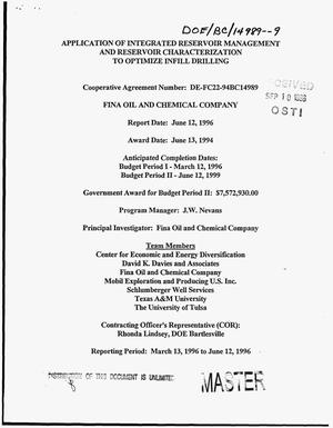 Primary view of object titled 'Application of integrated reservoir management and reservoir characterization to optimize infill drilling. Quarterly technical progress report, March 13, 1996--June 12, 1996'.