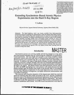 Primary view of object titled 'Extending synchrotron-based atomic physics experiments into the hard X-ray region'.