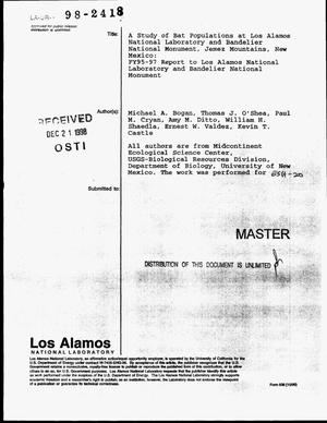 Primary view of object titled 'A study of bat populations at Los Alamos National Laboratory and Bandelier National Monument, Jemez Mountains, New Mexico: FY95--97 report to Los Alamos National Laboratory and Bandelier National Monument'.