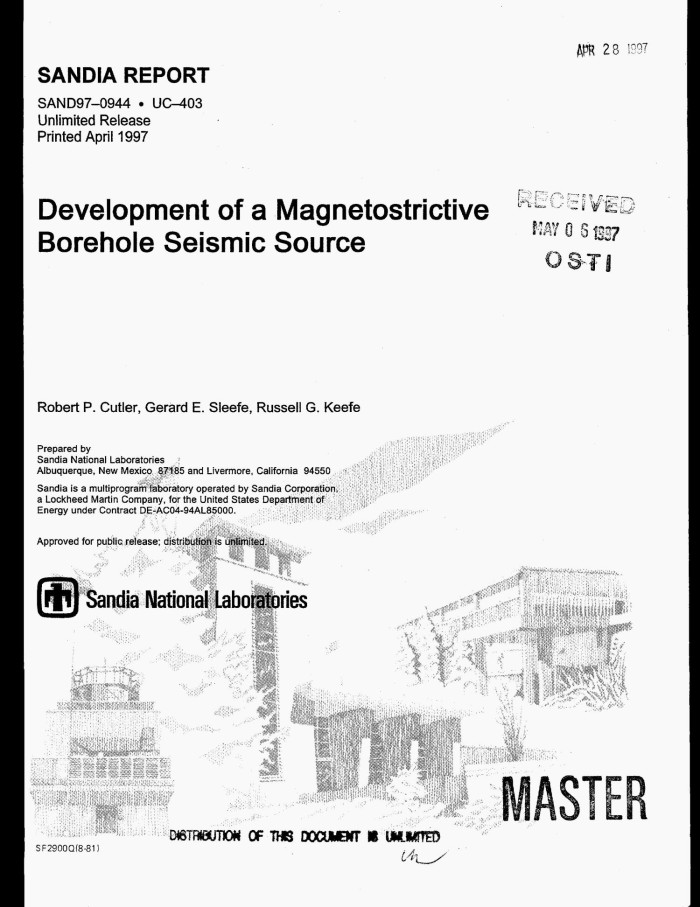 Development of a magnetostrictive borehole seismic source