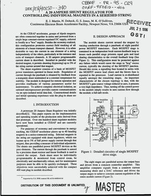 Primary view of object titled 'A 20 ampere shunt regulator for controlling individual magnets in a seriesed string'.
