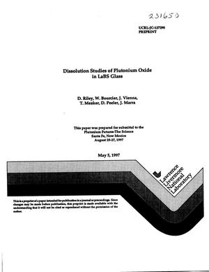 Primary view of object titled 'Dissolution studies of plutonium oxide in LaBS glass'.