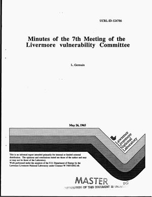 Primary view of object titled 'Minutes of the 7th Meeting of the Livermore Vulnerability Committee'.