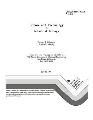 Primary view of object titled 'Science and technology for industrial ecology'.