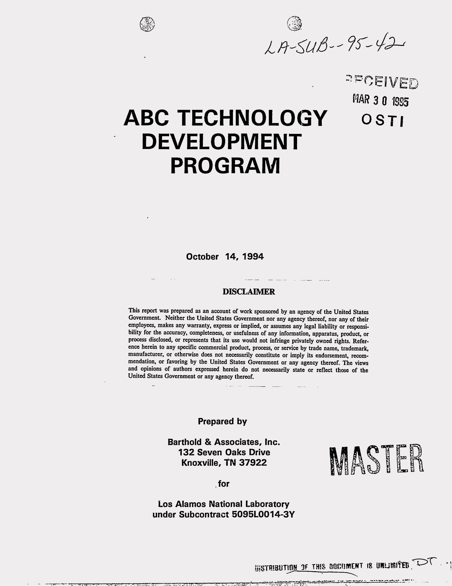 ABC Technology Development Program                                                                                                      [Sequence #]: 1 of 104