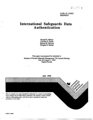 Primary view of object titled 'International safeguards data authentication'.