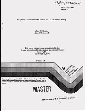 Primary view of object titled 'Adaptive measurement control for calorimetric assay'.
