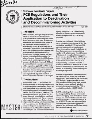 Primary view of object titled 'PCB regulations and their application to deactivation and decommissioning activities: Technical assistance project'.