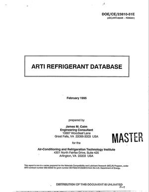 Primary view of object titled 'ARTI Refrigerant Database'.