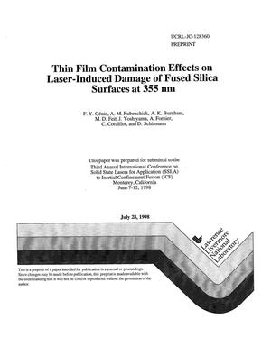 Primary view of object titled 'Thin film contamination effects on laser-induced damage of fused silica surfaces at 355 nm'.