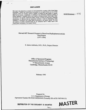Primary view of object titled 'Harvard-MIT research program in short-lived radiopharmaceuticals. Final report'.
