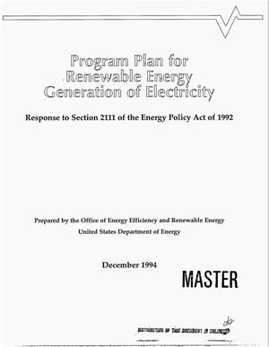 Primary view of object titled 'Program Plan for Renewable Energy generation of electricity. Response to Section 2111 of the Energy Policy Act of 1992'.