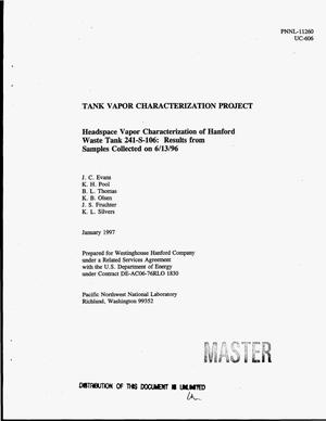 Primary view of object titled 'Headspace vapor characterization of Hanford waste tank 241-S-106: Results from samples collected on 06/13/96'.