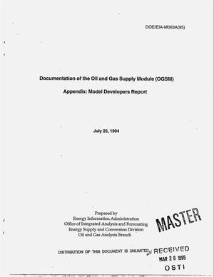 Primary view of object titled 'Documentation of the Oil and Gas Supply Module (OGSM). Appendix, Model developers report'.