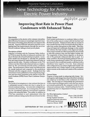 Primary view of object titled 'Improving heat rate in power plant condensers with enhanced tubes'.
