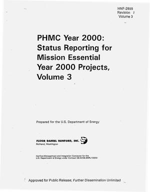 Primary view of object titled 'PHMC Year 2000: Status reporting for mission essential Year 2000 projects. Volume 3'.