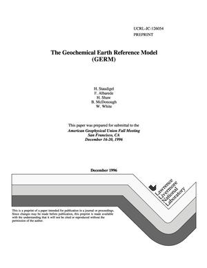 Primary view of The Geochemical Earth Reference Model (GERM)