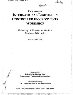 Primary view of object titled 'International lighting in controlled environments workshop: Proceedings'.