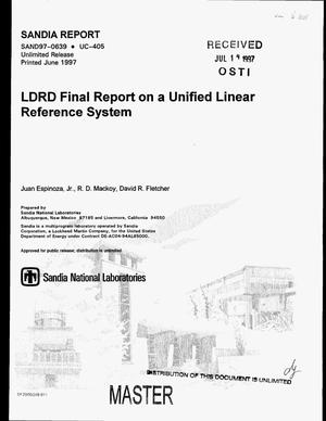 Primary view of object titled 'LDRD final report on a unified linear reference system'.