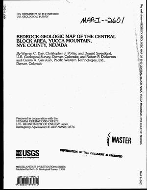 Primary view of object titled 'Bedrock geologic map of the central block area, Yucca Mountain, Nye County, Nevada'.