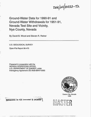 Primary view of object titled 'Ground-water data for 1990--91 and ground-water withdrawals for 1951--91, Nevada Test Site and vicinity, Nye County, Nevada'.