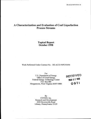 Primary view of object titled 'A Characterization and Evaluation of Coal Liquefaction Process Streams'.