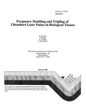 Primary view of object titled 'Frequency doubling and tripling of ultrashort laser pulses in biological tissues'.