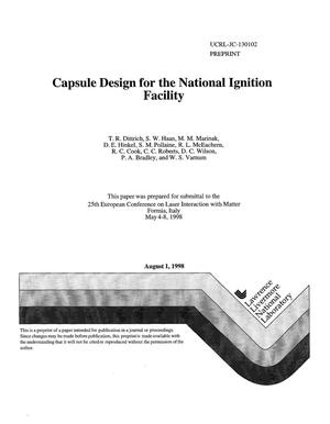 Primary view of object titled 'Capsule design for the National Ignition Facility'.