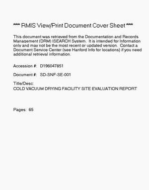 Primary view of object titled 'Cold vacuum drying facility site evaluation report'.