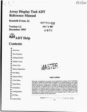 Primary view of object titled 'Array display tool ADT reference manual. Version 1.2'.