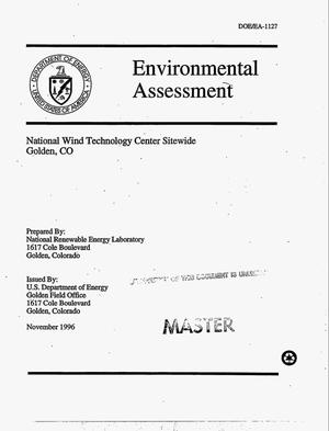 Primary view of object titled 'National Wind Technology Center sitewide, Golden, CO: Environmental assessment'.