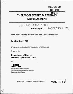 Primary view of object titled 'Thermoelectric materials development. Final report'.