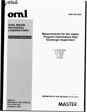 Primary view of object titled 'Measurements for the Jasper Program intermediate heat exchanger experiment'.