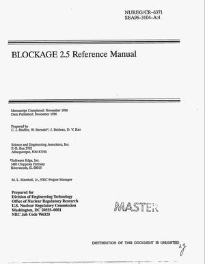 Primary view of object titled 'BLOCKAGE 2.5 reference manual'.