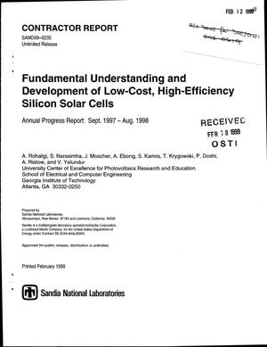 Primary view of object titled 'Fundamental Understanding and Development of Low-Cost, High-Efficiency Silicon Solar Cells: Annual Progress Report: Sept. 1997-Aug. 1998'.