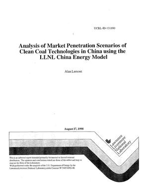 Primary view of object titled 'Analysis of market penetration scenarios of clean coal technologies in China using the LLNL China Energy Model'.