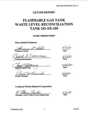 Flammable gas tank waste level reconciliation for 241-SX-105
