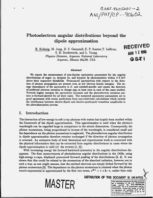 Primary view of object titled 'Photoelectron angular distributions beyond the dipole approximation'.