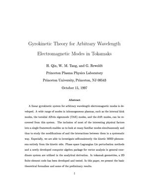 Primary view of object titled 'Gyrokinetic Theory for Arbitrary Wavelength Electromagnetic Modes in Tokamaks'.