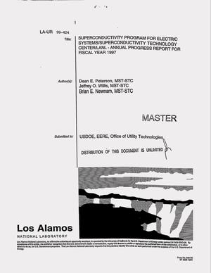 Primary view of object titled 'Los Alamos National Laboratory Superconductivity Technology Center Annual Progress Report: 1997'.