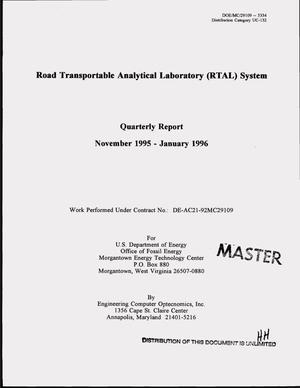 Primary view of object titled 'Road Transportable Analytical Laboratory (RTAL) system. Quarterly report, November 1995--January 1996'.