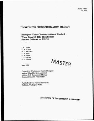 Primary view of object titled 'Tank vapor characterization project. Headspace vapor characterization of Hanford waste Tank SX-101: Results from samples collected on 07/21/95'.